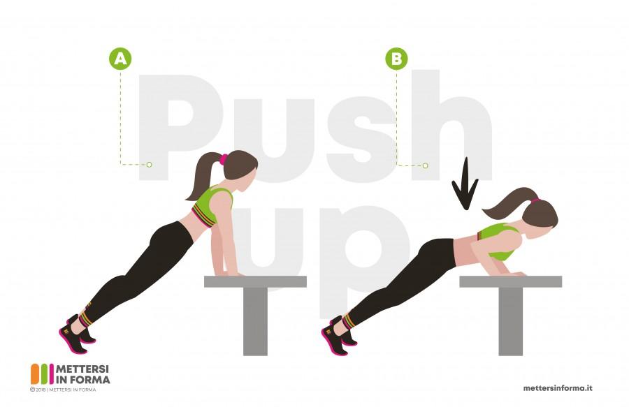 push up panchina infografica
