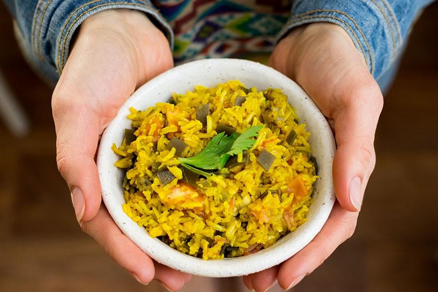 una ciotola di riso basmati